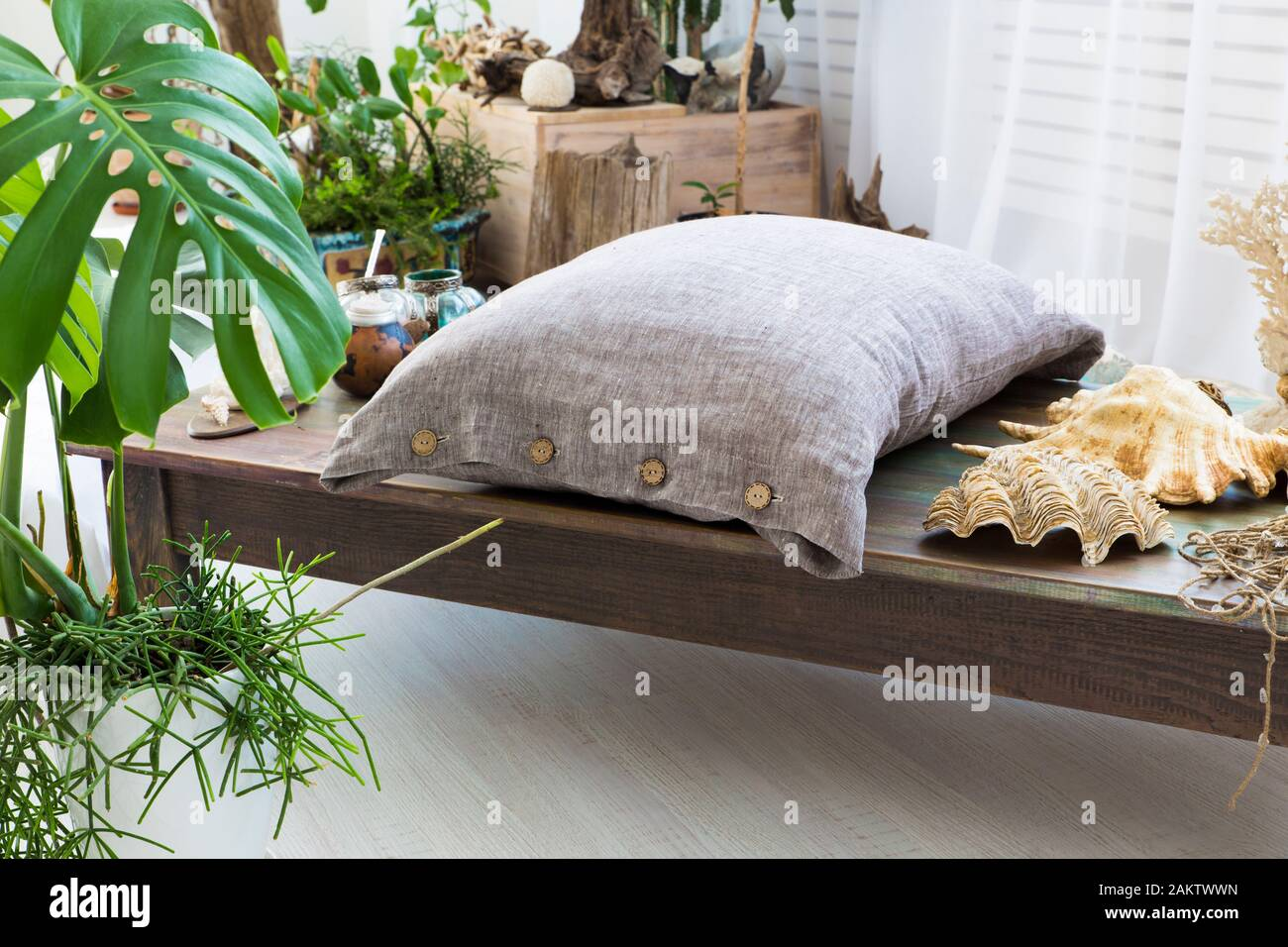 Natural eco-friendly. Biancheria da letto all'interno Foto Stock