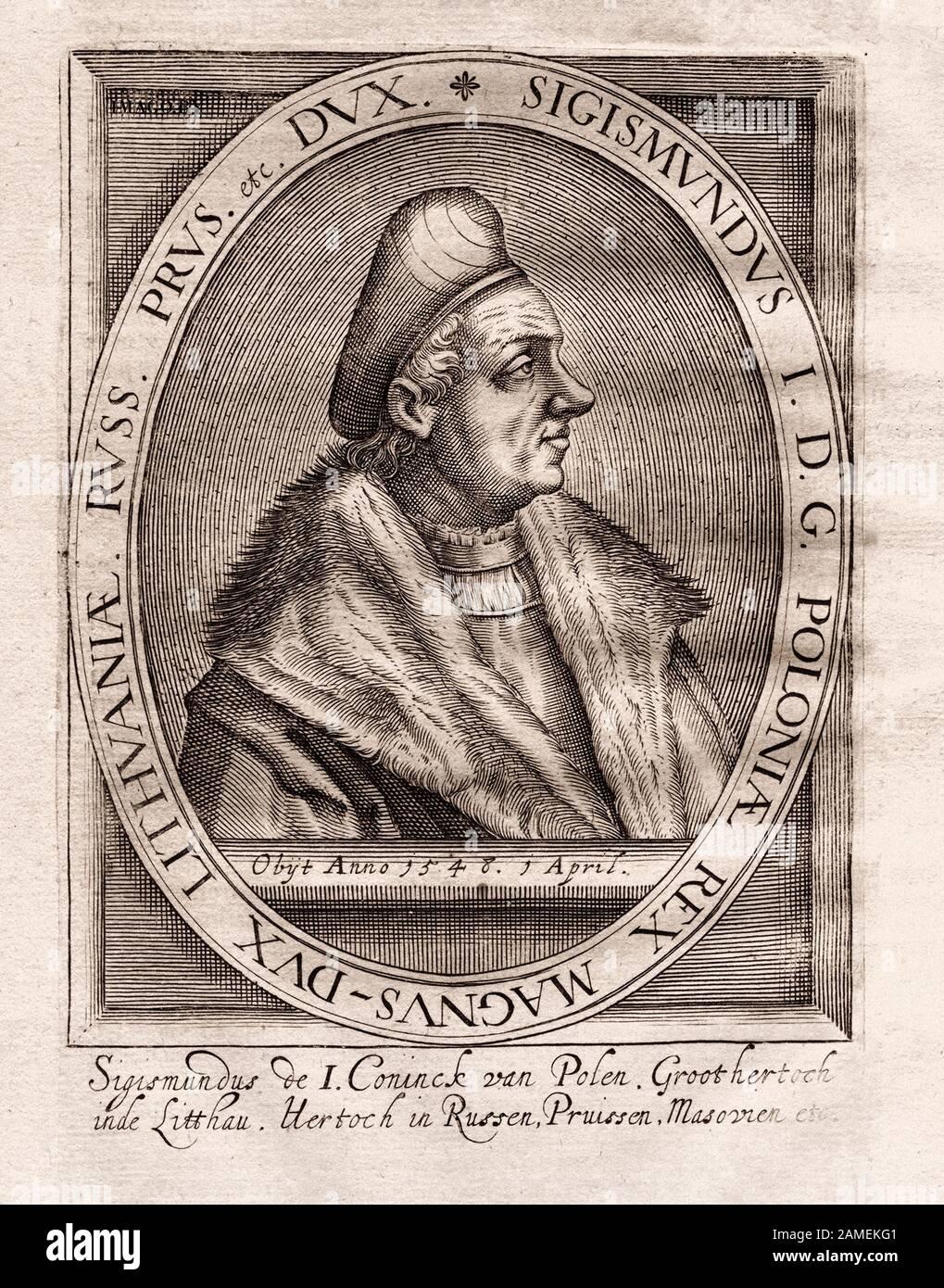 Ritratto del Granduca di Lituania e re di Polonia Sigismondo i 'il vecchio' (1467-1548), che sostituì il suo fratello maggiore Alexander Jagellonch Foto Stock