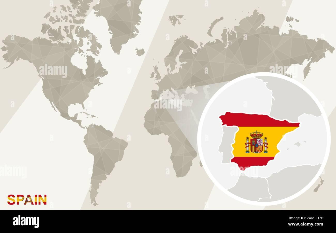 Cartina Mappa Spagna.Ingrandisci La Cartina E Bandiera Della Spagna Mappa Del Mondo Immagine E Vettoriale Alamy