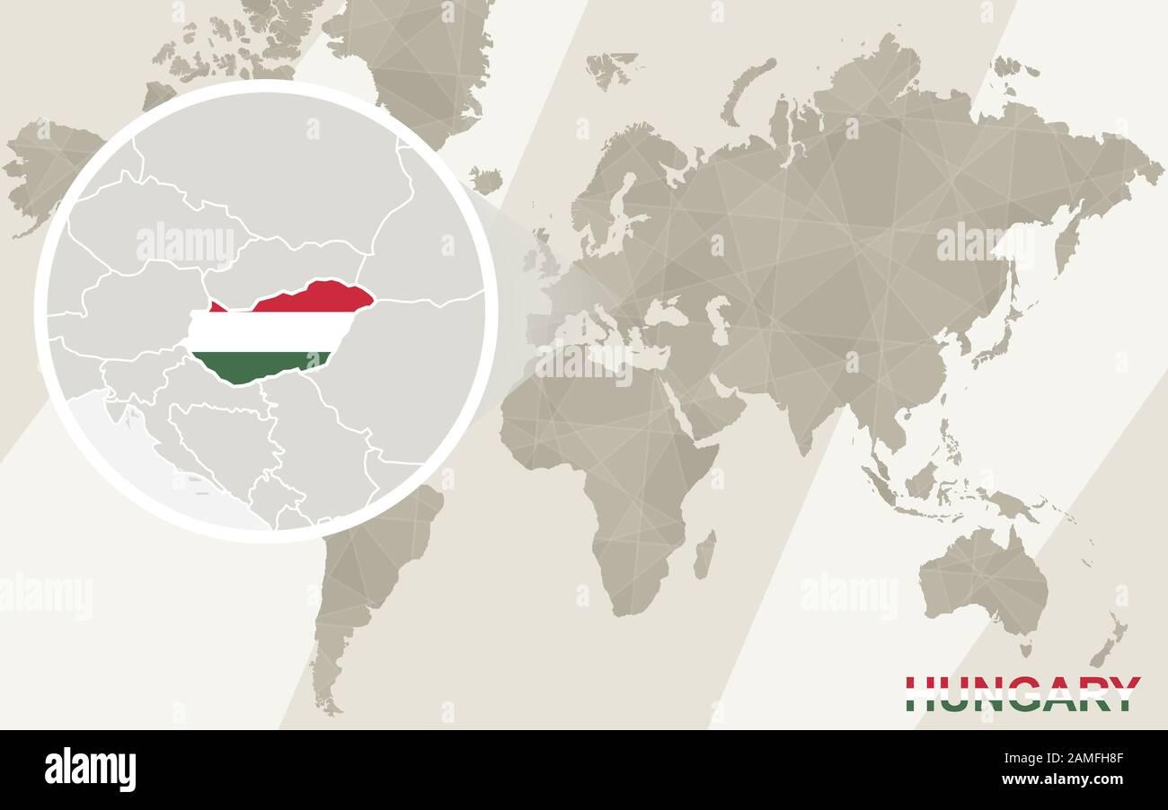 Cartina Mondo Ingrandita.Ingrandisci La Cartina E La Bandiera Dell Ungheria Mappa Del Mondo Immagine E Vettoriale Alamy