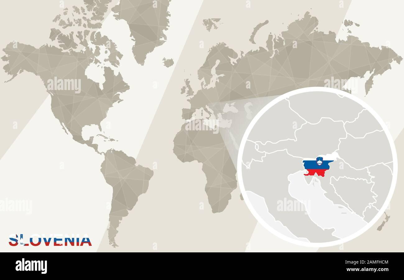 Cartina Del Mondo Ingrandita.Ingrandisci La Cartina E La Bandiera Della Slovenia Mappa Del Mondo Immagine E Vettoriale Alamy