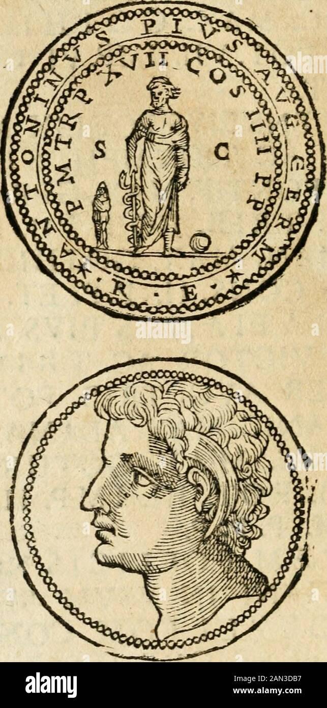 Ritratto di Roma antica : nel qvale sono figliati i principi tempij, theiri, anfiteatri, cerchi, naumachie, archi trionfali, curie, basiliche, colonne, Ordine del trionfo, dignita milari, e ciuili, riti cerimonie, & altre notabili : Aggiuntori di nuouo le vite, & effigie de' primi rè di essa, e le grandezze dell'Imperio Romano, con l'esplicationi istoriche de' piu celebrri antiquarij . eggono qtiefie parole. DQ. ANTICA. 301 DOMINI NOSTRI IMP.CAESARES F.VALENTINIANVS PIVSFOELLOX MAX. VICTOR AC TRIVMPH. SEMPER AVG.PONT. MAX. GERMANICO. MAX. ALAMAN.MAX. FRANCO. MAX. GOTICO. MAX. TIB. PENTOLA. VI Foto Stock
