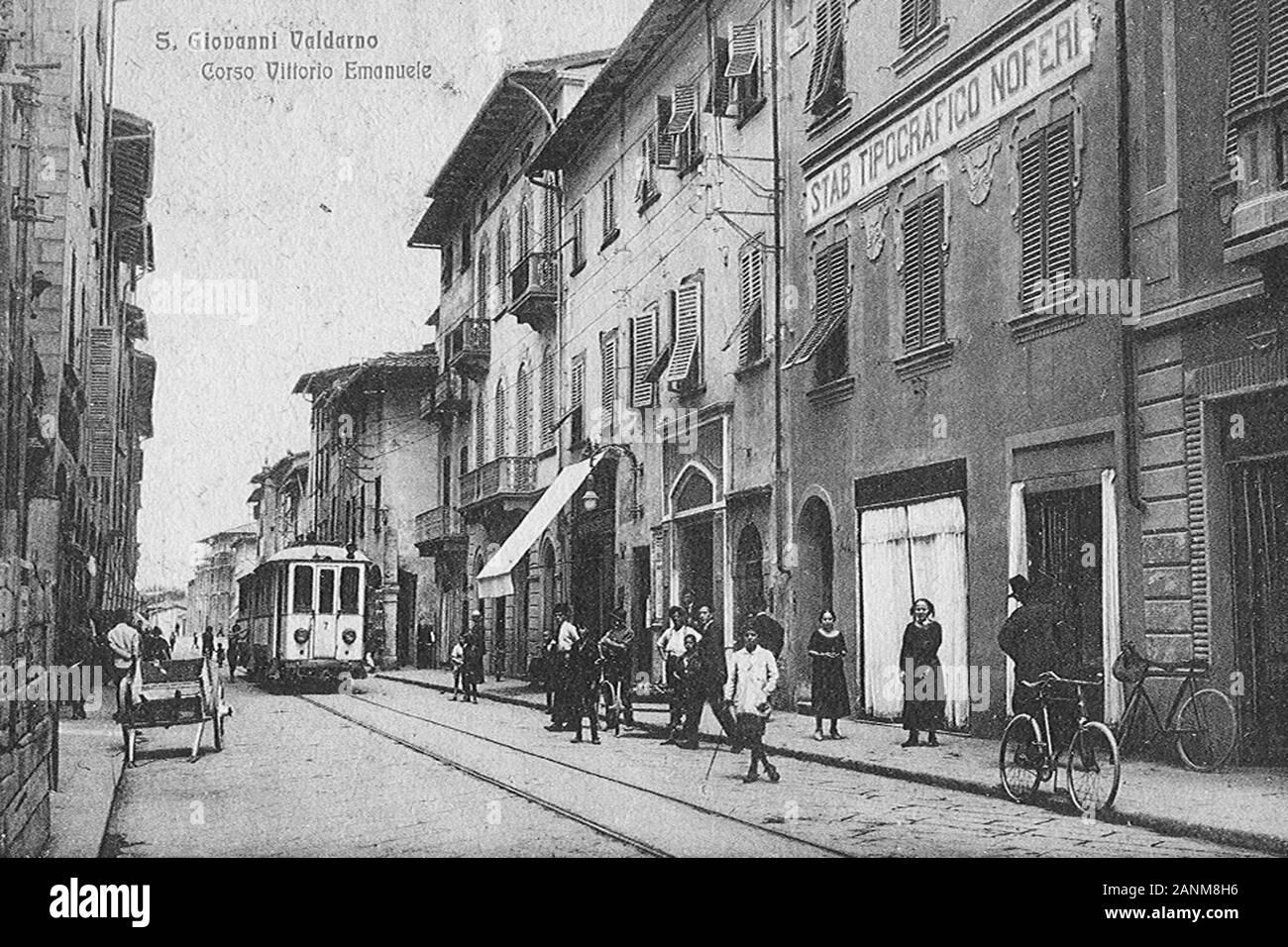 San Giovanni Valdarno - il Tram; 1 gennaio 1930; Foto d'epoca; Unkno n; Foto Stock