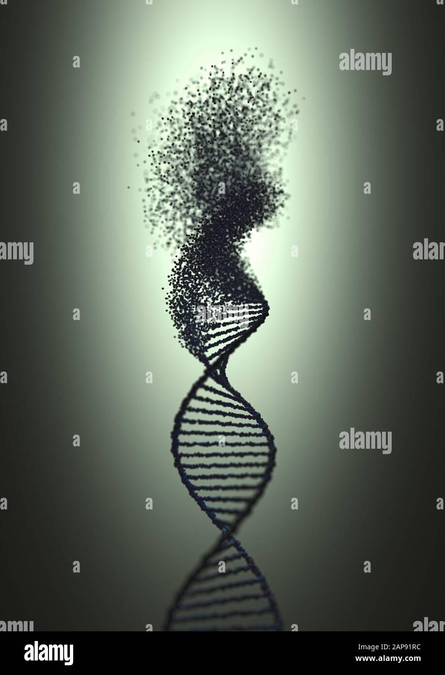 La sindrome di genetica e di disordine genetico, 3D illustrazione del concetto di scienza. Colorate molecola di DNA. Foto Stock
