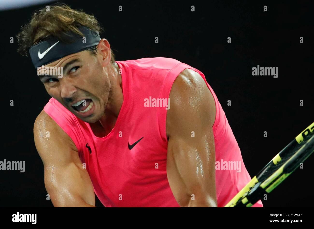Melbourne, Australia. 23rd Gen 2020. Australian Open Tennis, Rafael Nadal di Spagna in azione durante la partita contro Federico Delbonis di Argentina (Photo by AGN FOTO/Pacific Press) Credit: Pacific Press Agency/Alamy Live News Foto Stock