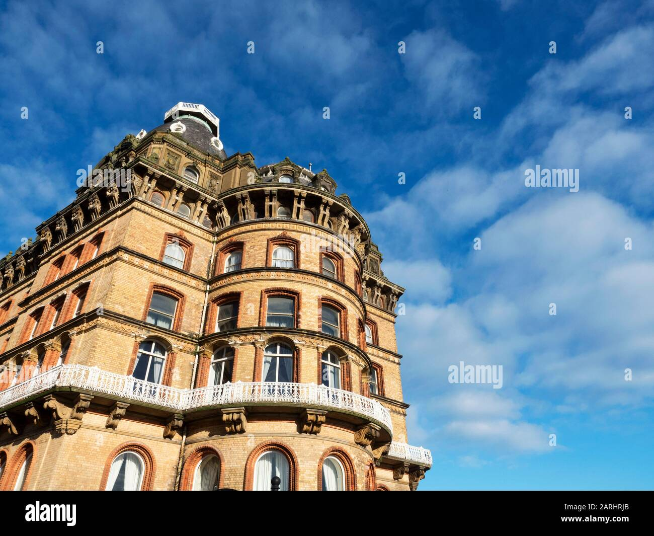 Il Grand Hotel è un edificio storico di grado II dell'architetto Cuthbert Brodrick a Scarborough, North Yorkshire, Inghilterra Foto Stock