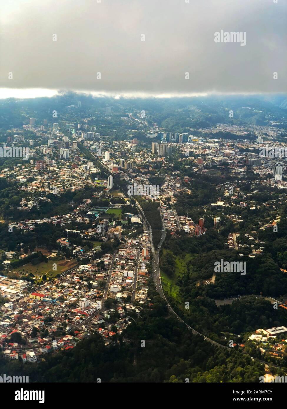 Una vista aerea di Città del Guatemala Foto Stock