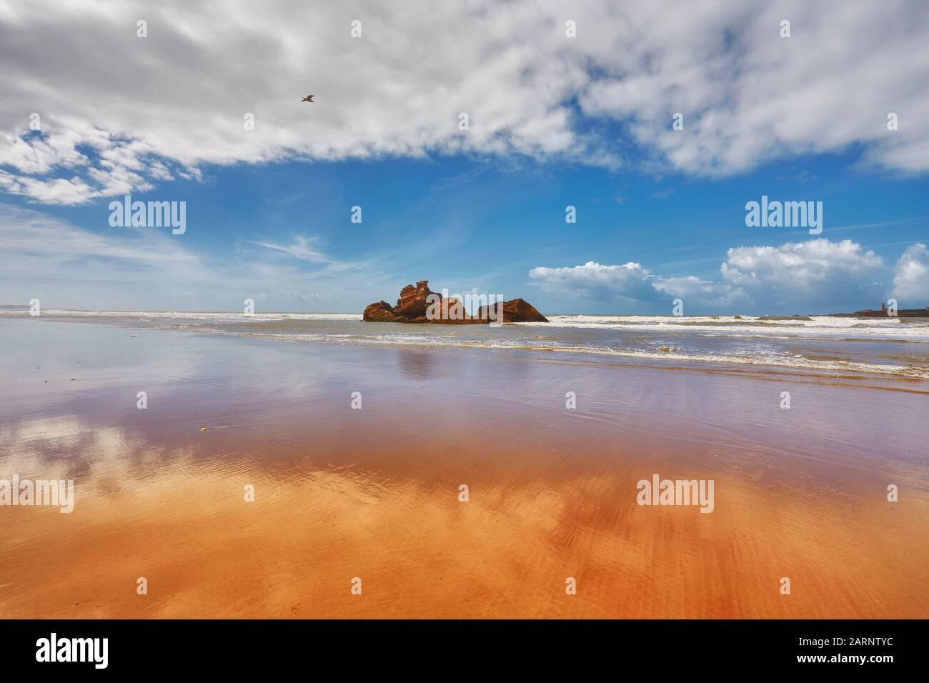 La costa dell'Oceano Atlantico, la sabbia dorata, il cielo blu, le piccole rocce sono specchiate nell'onda costiera. Spiaggia Nei Pressi Di Esoueira, Marocco Foto Stock