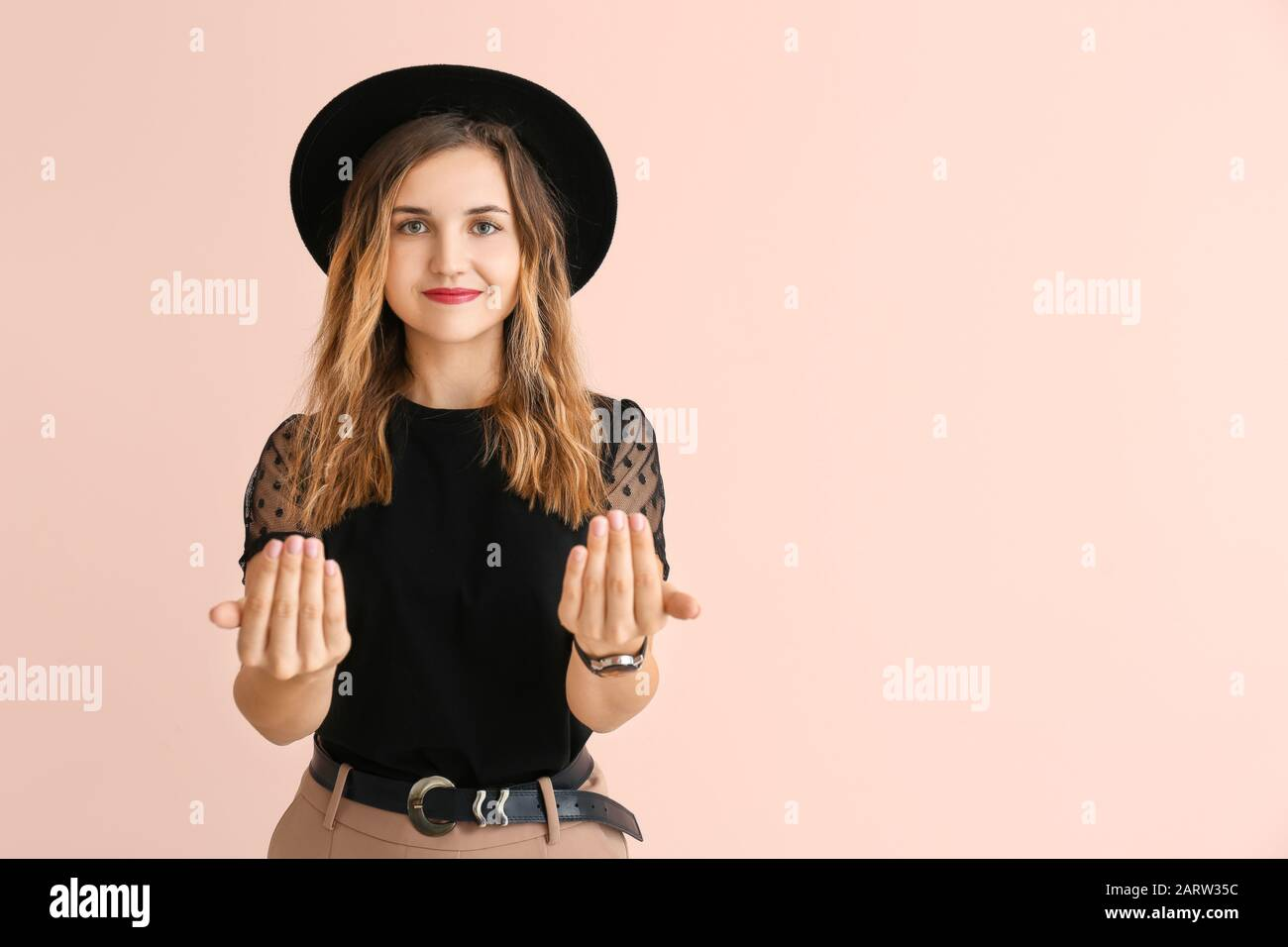Beckoning Hand Sign Immagini e Fotos Stock Alamy