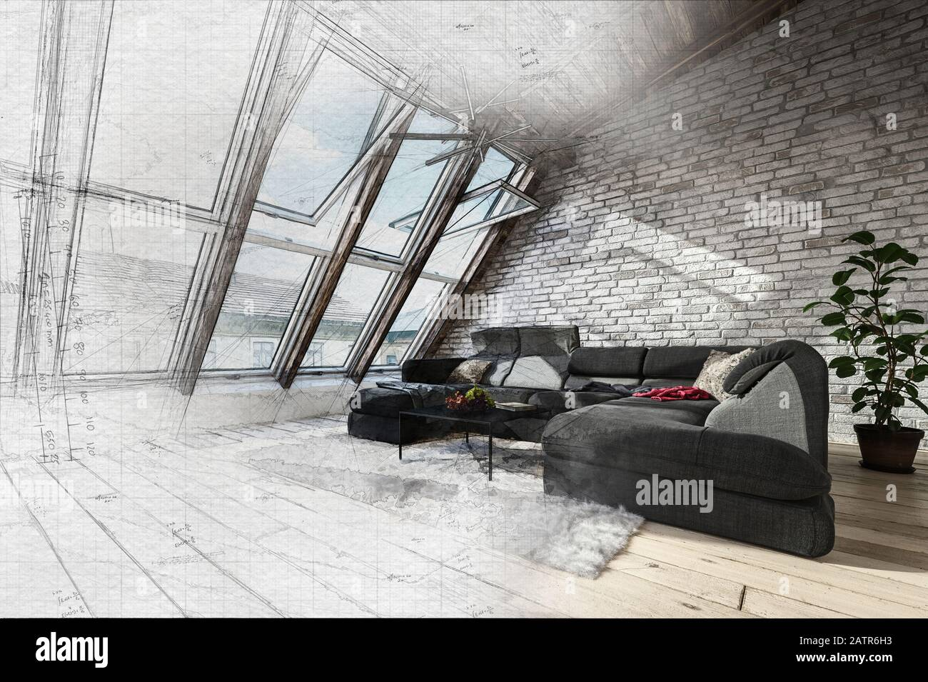3d Rendering Di Attico Design Soggiorno Con Ampie Finestre Panoramiche E Luce Del Sole Luminoso Su Muro Di Mattoni E Ampio Angolo Divano Rendering 3d Foto Stock Alamy