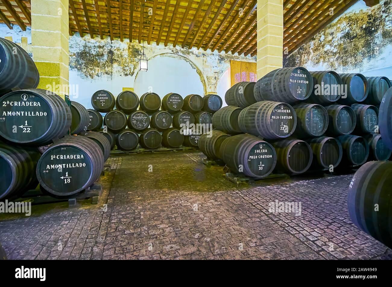 Jerez, SPAGNA - 20 SETTEMBRE 2019: Visita la cantina Bodegas Tradicion ed esplora l'invecchiamento e lo stoccaggio del vino Sherry in botti di rovere vintage, il 20 settembre Foto Stock