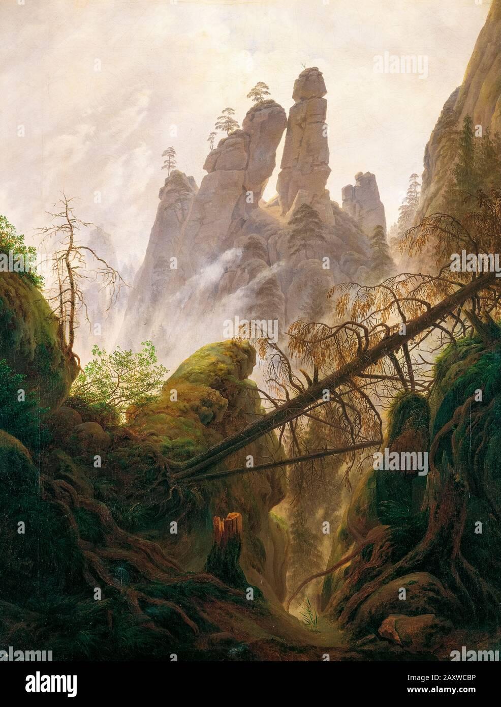 Caspar David Friedrich, paesaggio roccioso nelle montagne Di Pietra Arenaria dell'Elba, pittura di paesaggio, 1822 Foto Stock