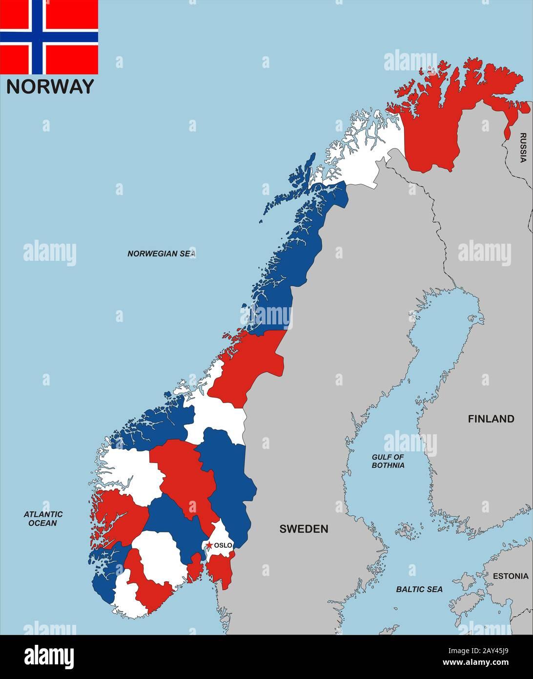 Cartina Politica Norvegia.Mappa Della Norvegia Immagini E Fotos Stock Alamy