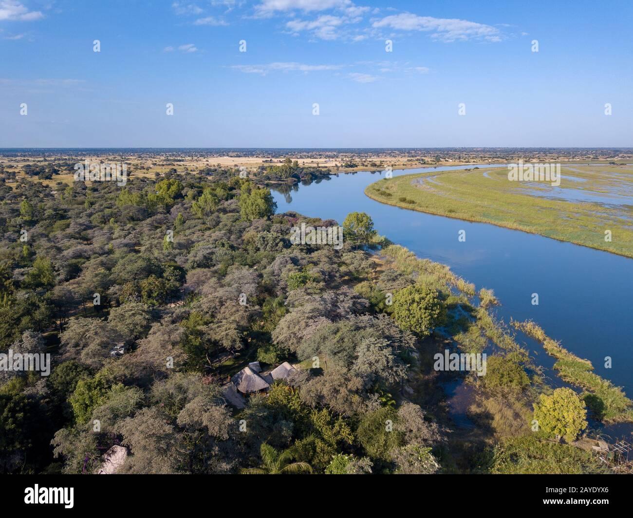 L'Okavango delta del fiume nel nord della Namibia, Africa Foto Stock