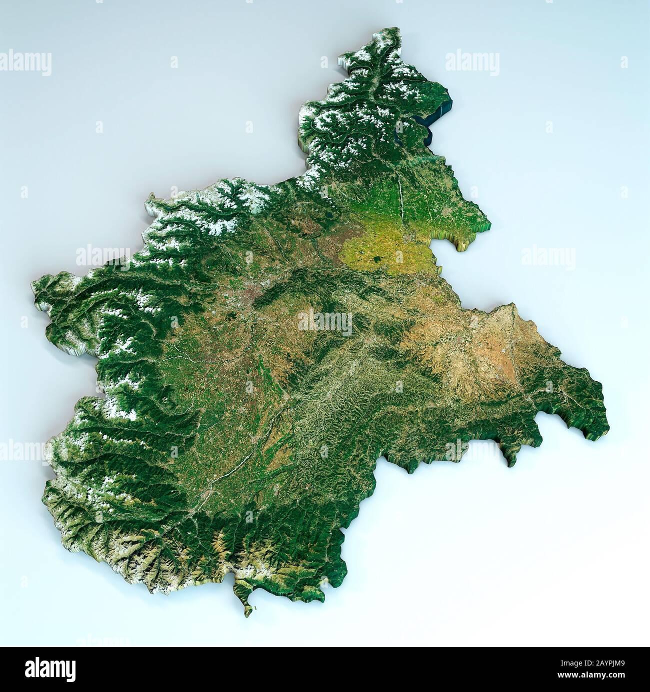 Piemonte Cartina Geografica Fisica.Vista Satellitare Della Regione Piemonte Italia Rendering 3d Mappa Fisica Del Piemonte Pianure Montagne Laghi Catena Montuosa Delle Alpi Foto Stock Alamy