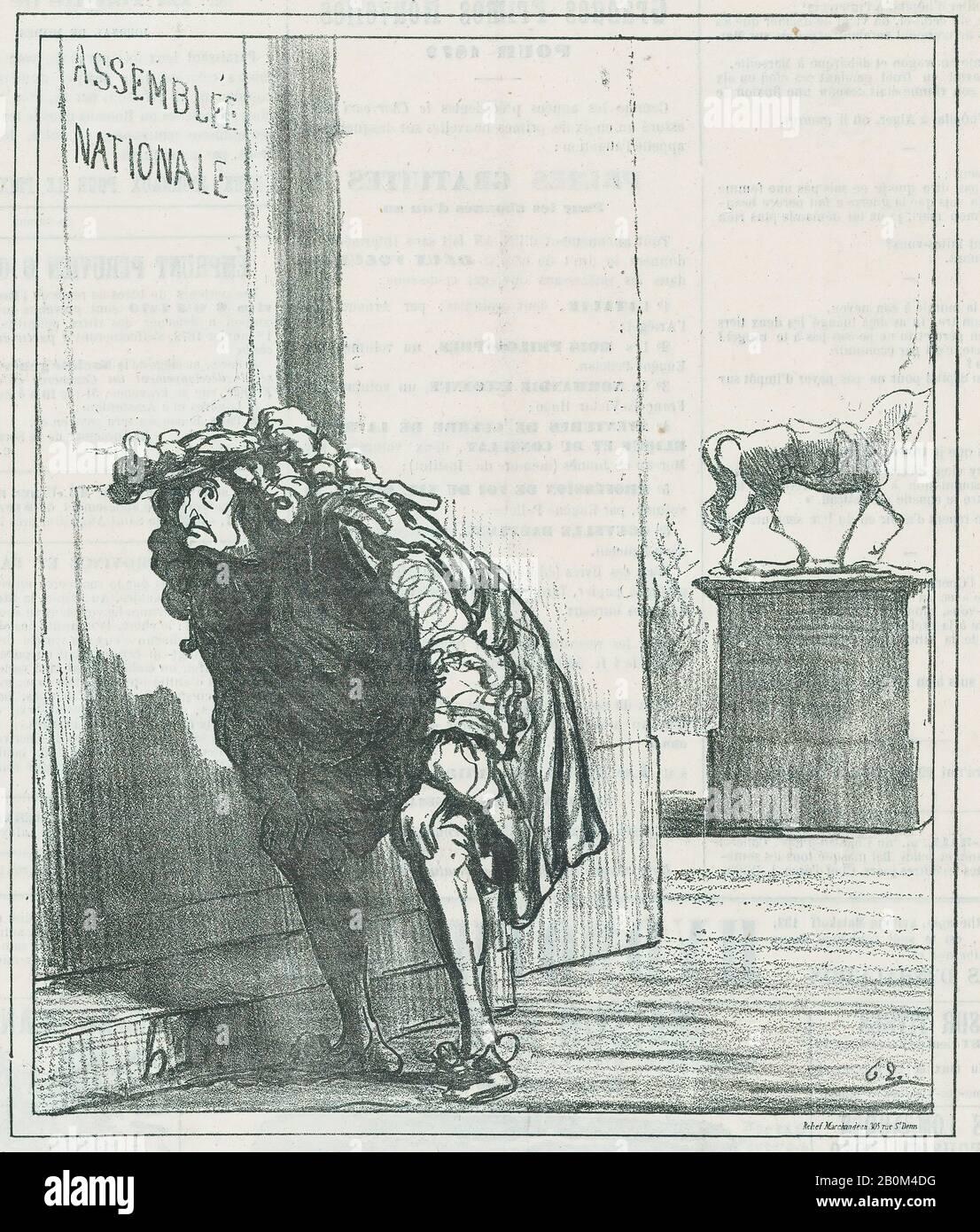 Honoré Daumier, Luigi XIV turbato alle prospettive per i Borboni, da 'Notizie del giorno', pubblicato in le Charivari, 22 dicembre 1871, 'Notizie del giorno' (Actualités), Honoré Daumier (francese, Marsiglia 1808–1879 Valmondois), Luigi XIV, re di Francia (francese, Saint-Germain-en-Laye-Laye, 1722 dicembre 1838); Versailles–1622–1822; Secondo stato di due (Delteil), immagine: 9 3/8 × 8 1/4 in. (23,8 × 20,9 cm), foglio: 11 5/8 × 11 3/4 in. (29.5 × 29.9 cm), stampe Foto Stock