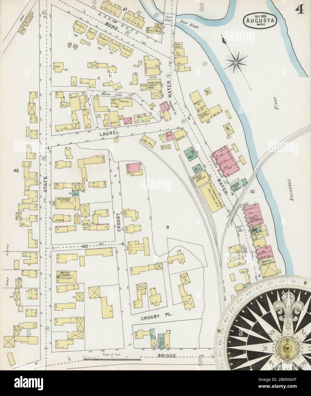 Immagine 4 Della Mappa Sanborn Fire Insurance Di Augusta, Contea Di Kennebec, Maine. Ott 1895. 13 fogli, America, mappa stradale con una bussola Del Xix Secolo Foto Stock
