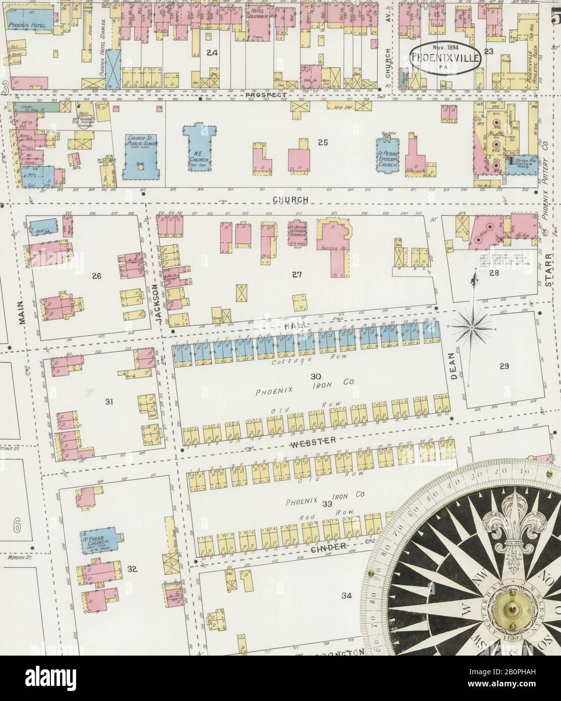 Immagine 5 Della Mappa Sanborn Fire Insurance Da Fenixville, Chester County, Pennsylvania. Nov 1894. 10 fogli, America, mappa stradale con una bussola Del Xix Secolo Foto Stock
