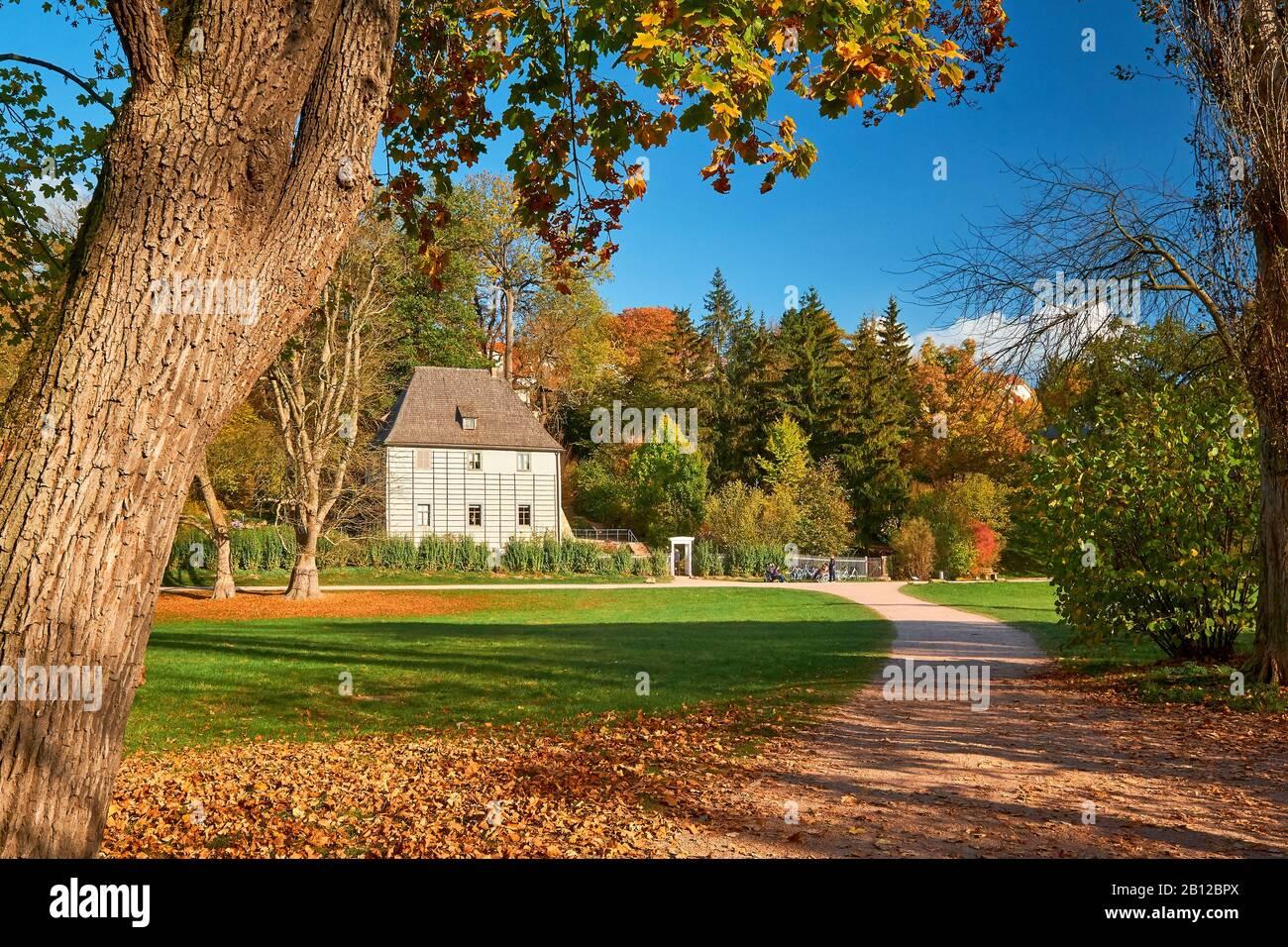Goethe garden house nel parco all'ILM, Weimar, Turingia, Germania Foto Stock