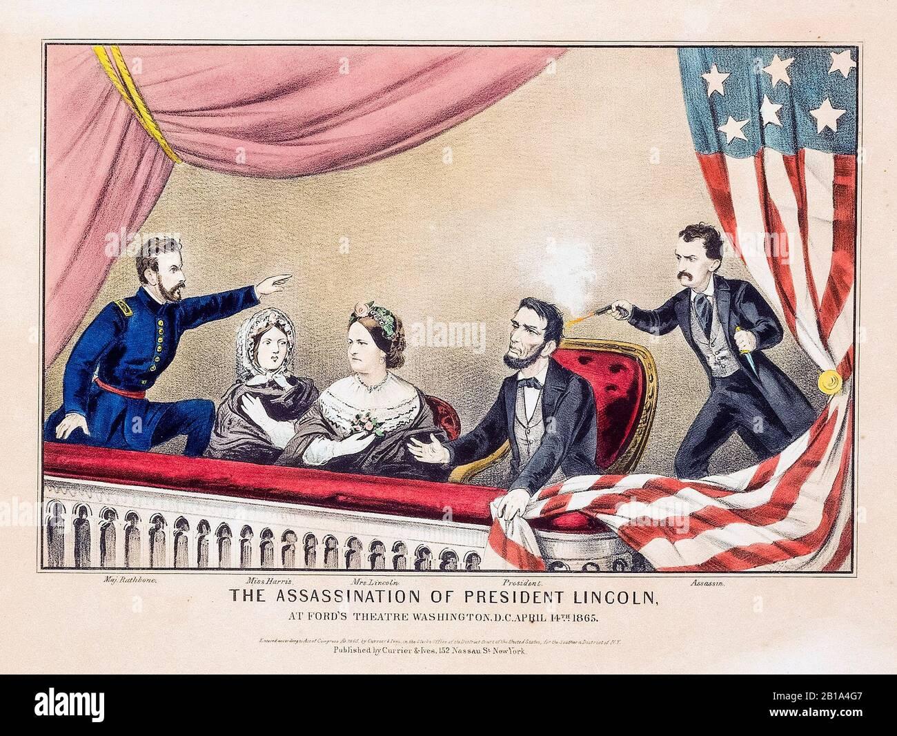 Presidente Abraham Lincoln assassinio, aprile 14th 1865 al Ford's Theatre, stampa da Currier e Ives, 1865 Foto Stock