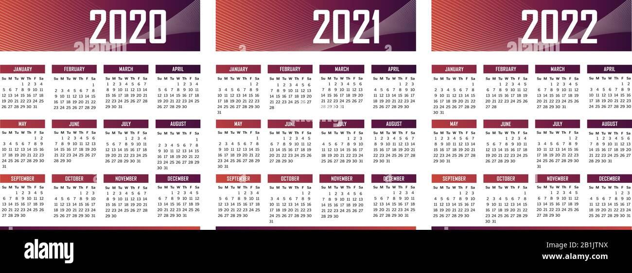 Italiano Calendario moderno 2020 2021 2022 vettore Immagine e