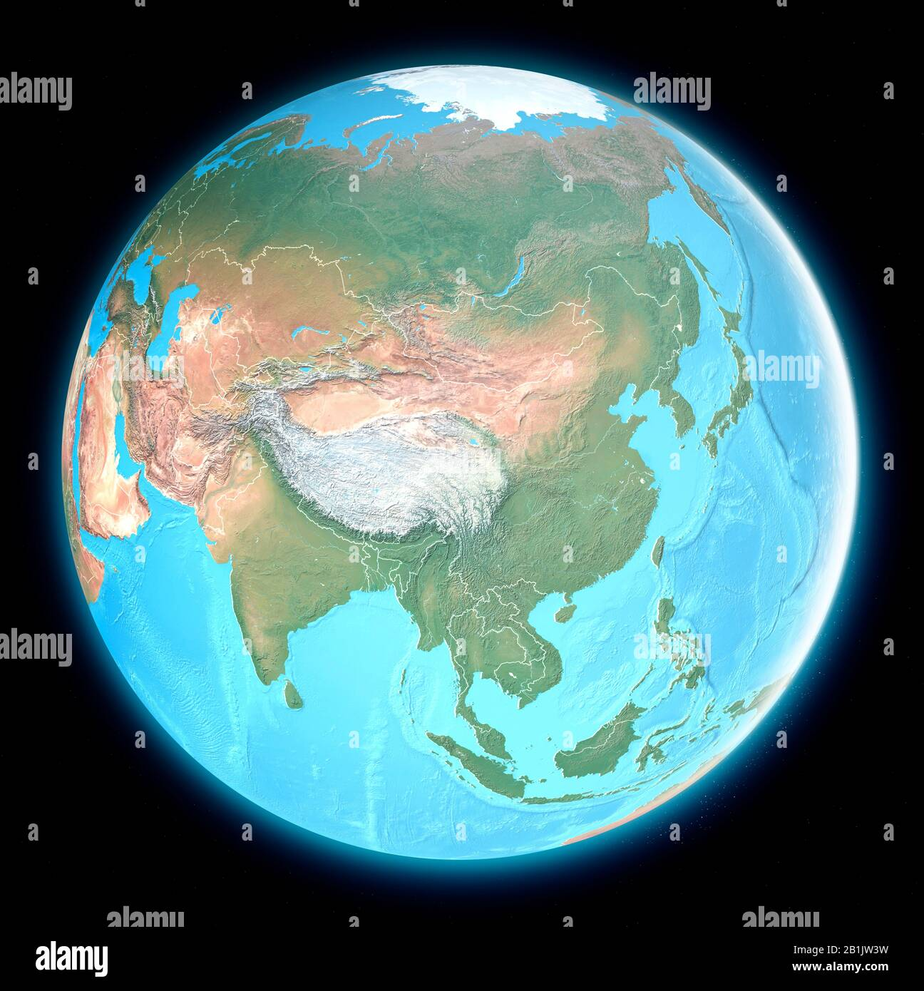 Cartina Asia Fisica.Mappa Del Mondo Dell Asia Vista Satellitare Mappa Geografica Fisica Cartografia Atlante Di Rilievo Rendering 3d Foto Stock Alamy