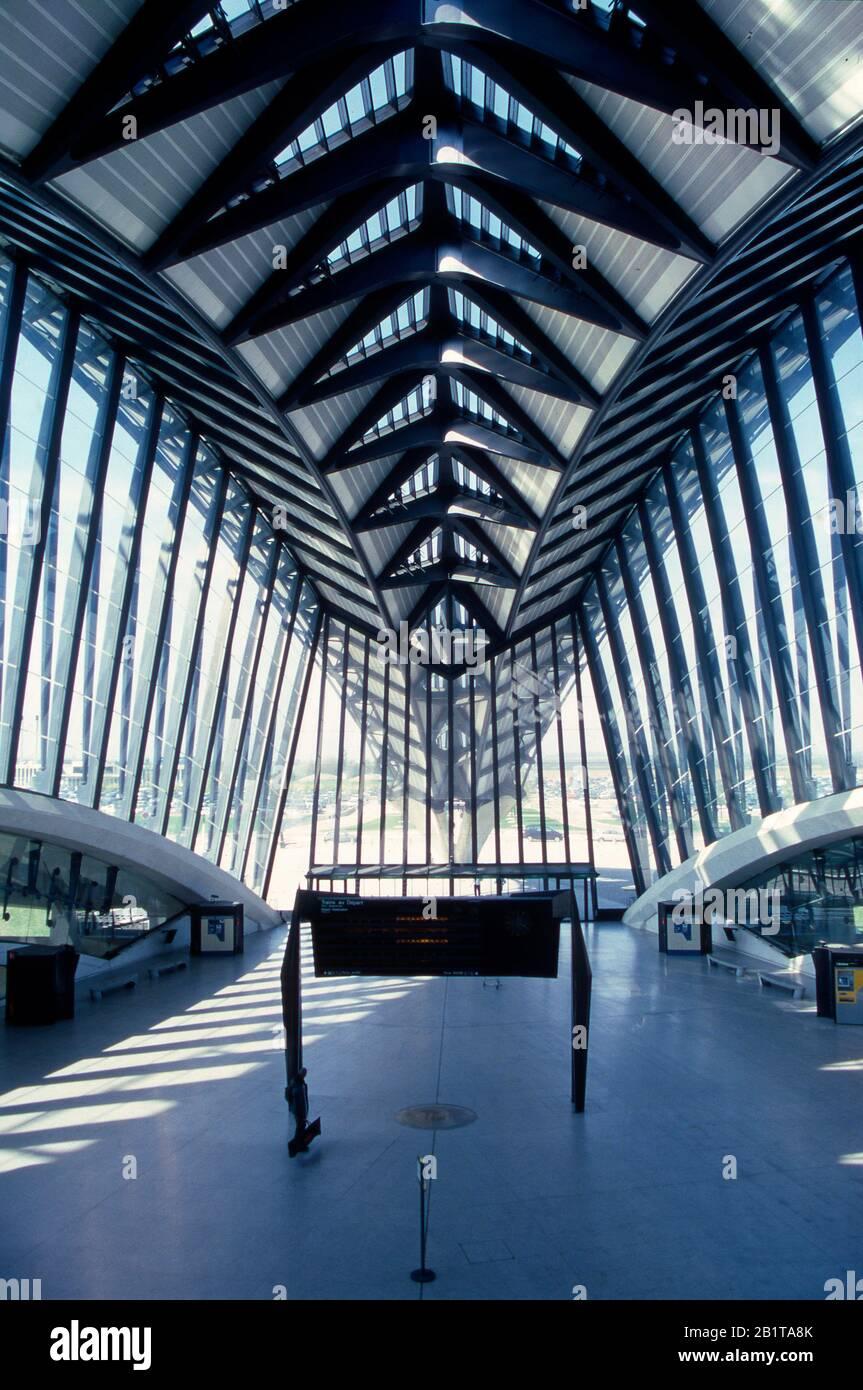 Lione, St Exupery Airport, Tgv Terminal Treno, Auvergne Rodano Alpi, Francia Foto Stock