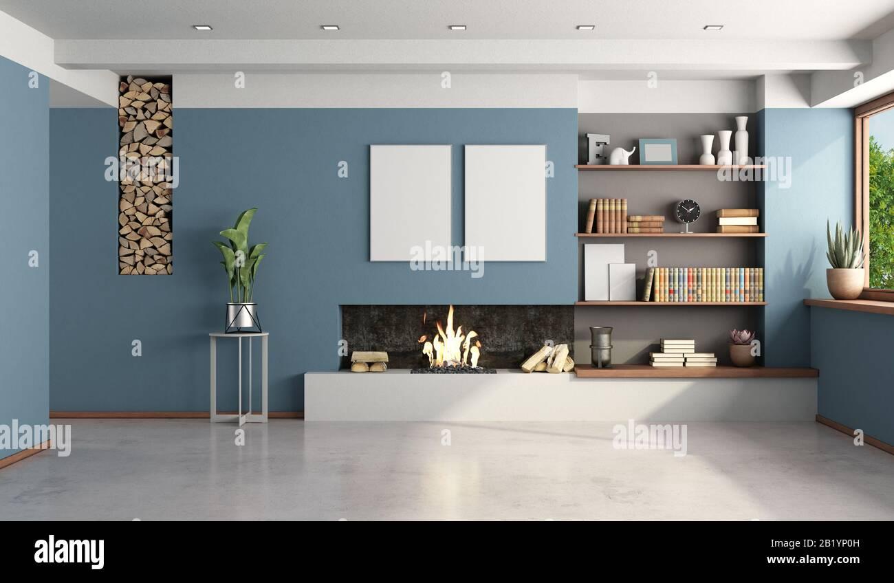 Soggiorno Moderno Con Camino soggiorno blu con camino moderno senza mobili - 3d rendering