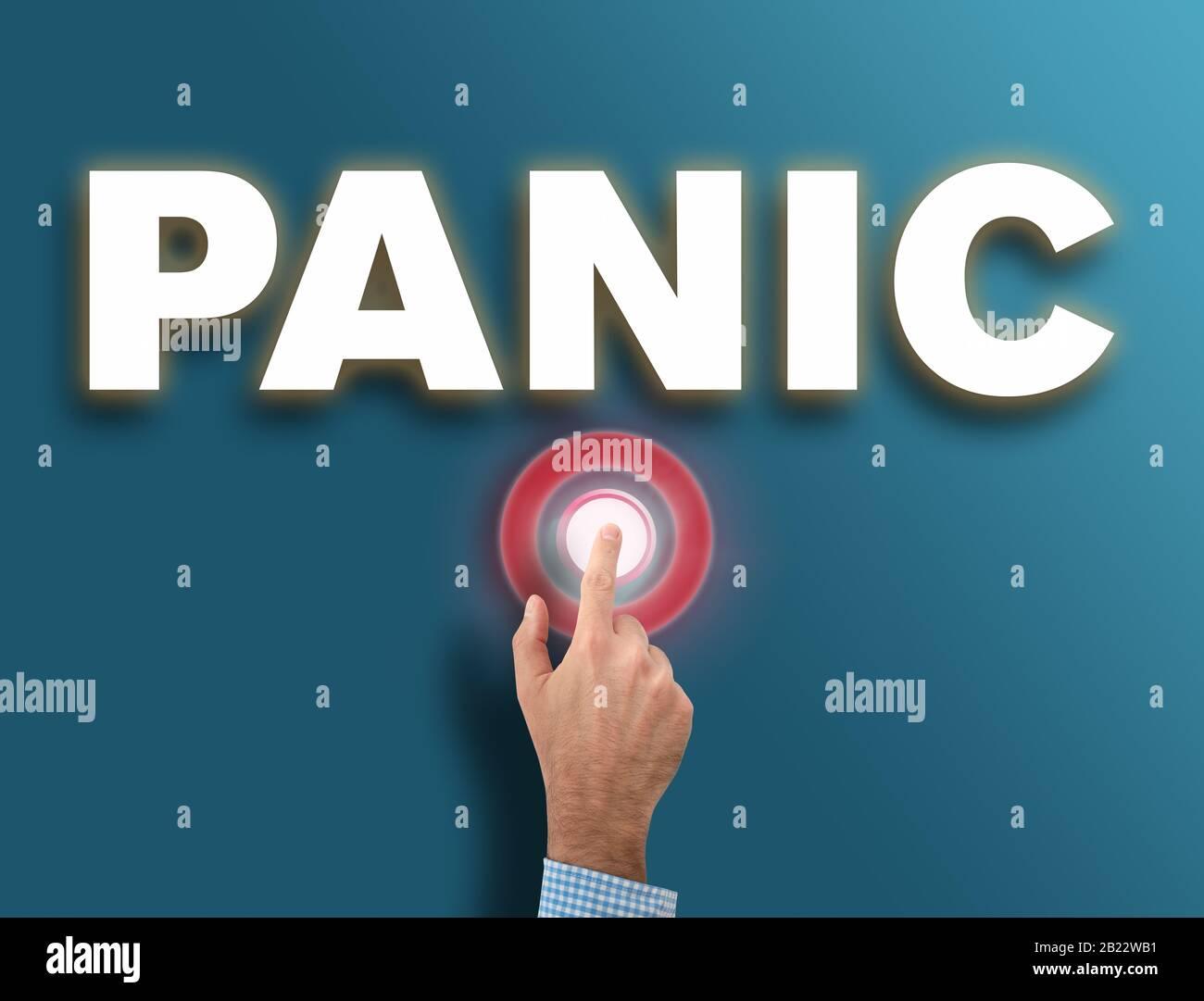 mano maschio che preme rosso incandescente pulsante di panico, pericolo e isteria reazione concetto Foto Stock