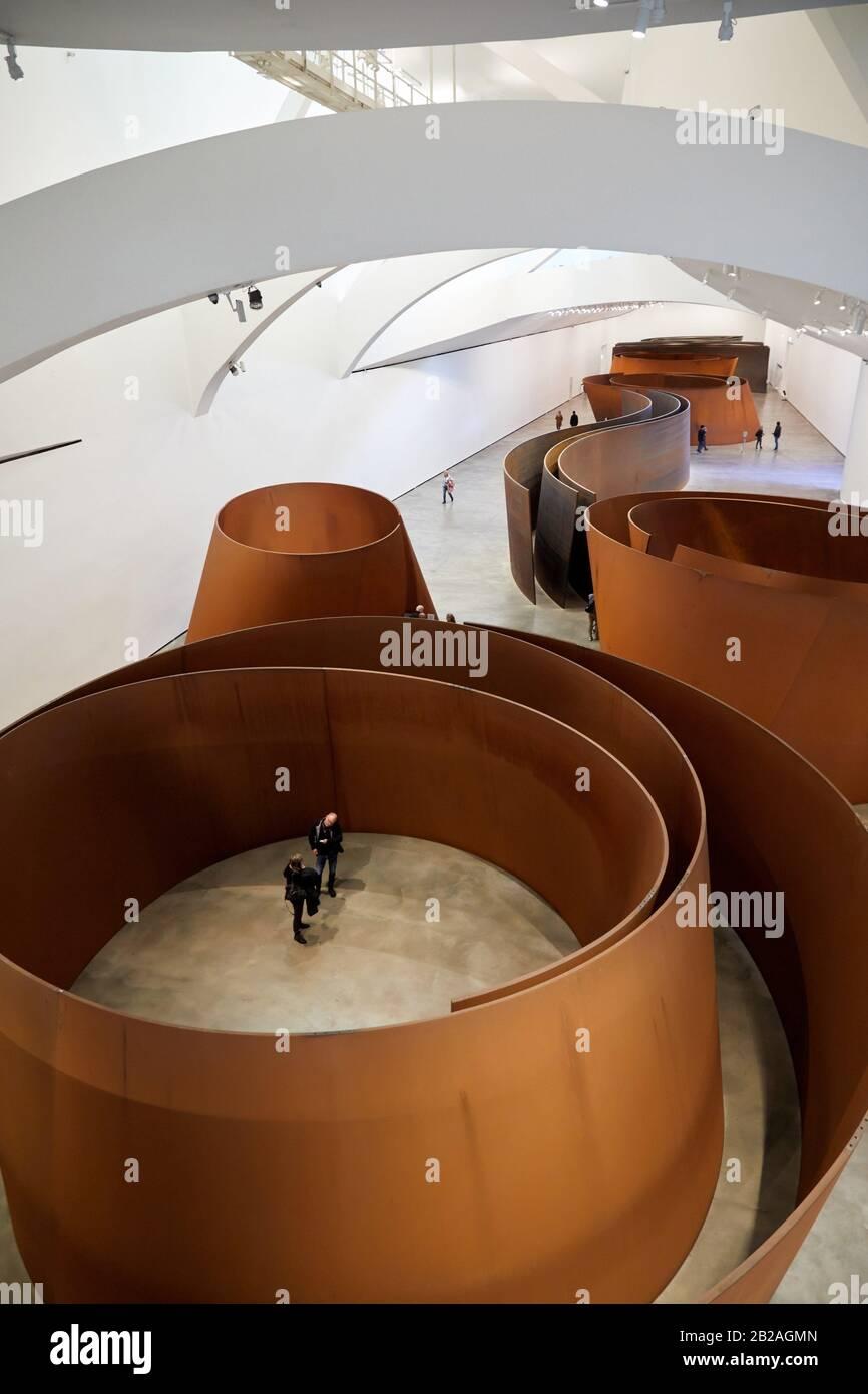 '''La Questione Del Tempo'', 1994-2005, Richard Serra, Museo Guggenheim, Bilbao, Bizkaia, Paesi Baschi, Spagna, Europa Foto Stock