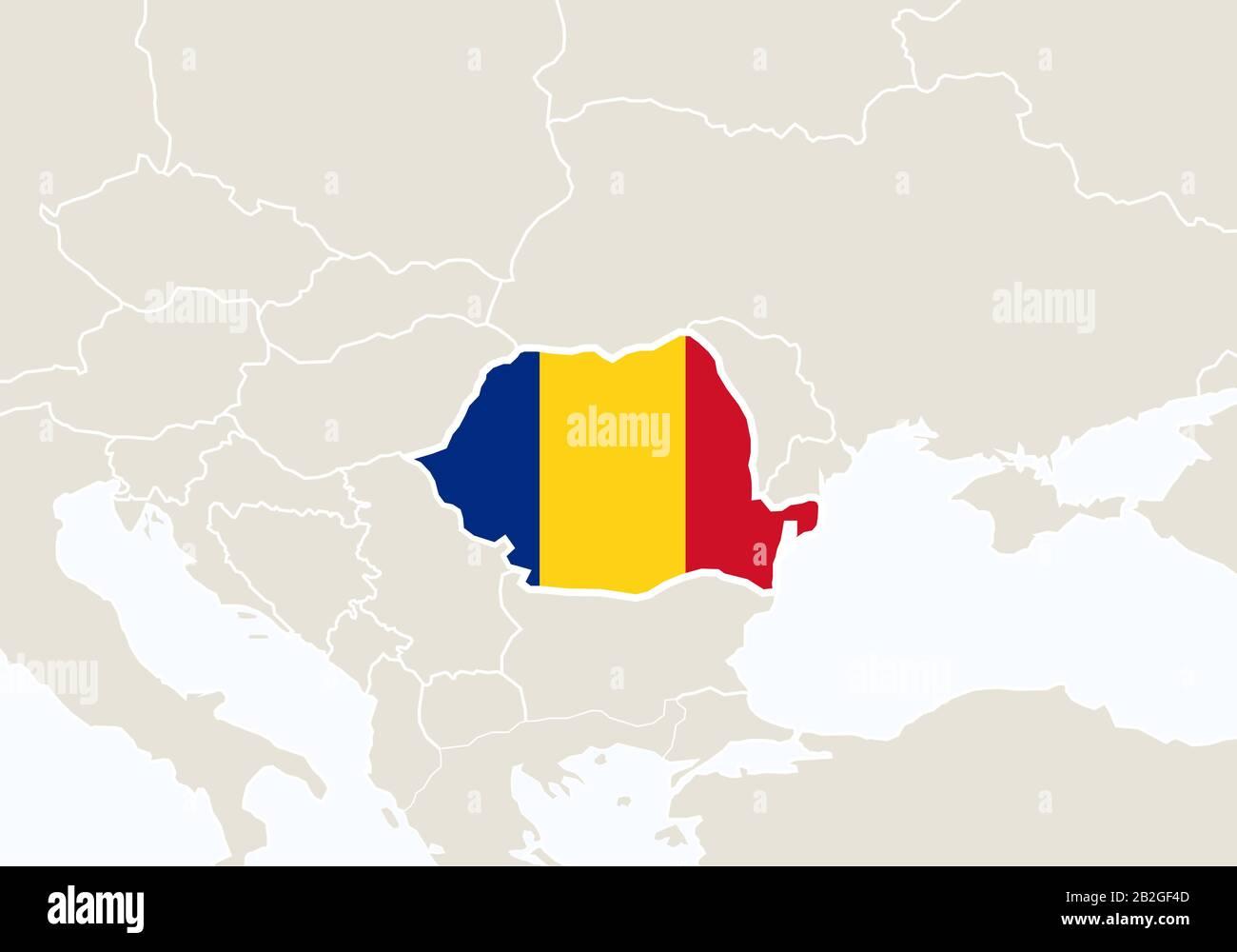 Cartina Dettagliata Romania.Europa Con Mappa Romania Evidenziata Illustrazione Vettoriale Immagine E Vettoriale Alamy