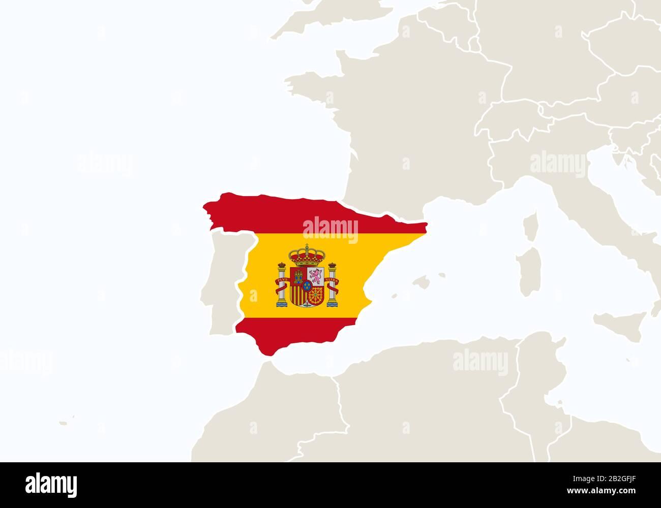 Cartina Della Spagna Geografica.Europa Con Mappa Della Spagna Evidenziata Illustrazione Vettoriale Immagine E Vettoriale Alamy