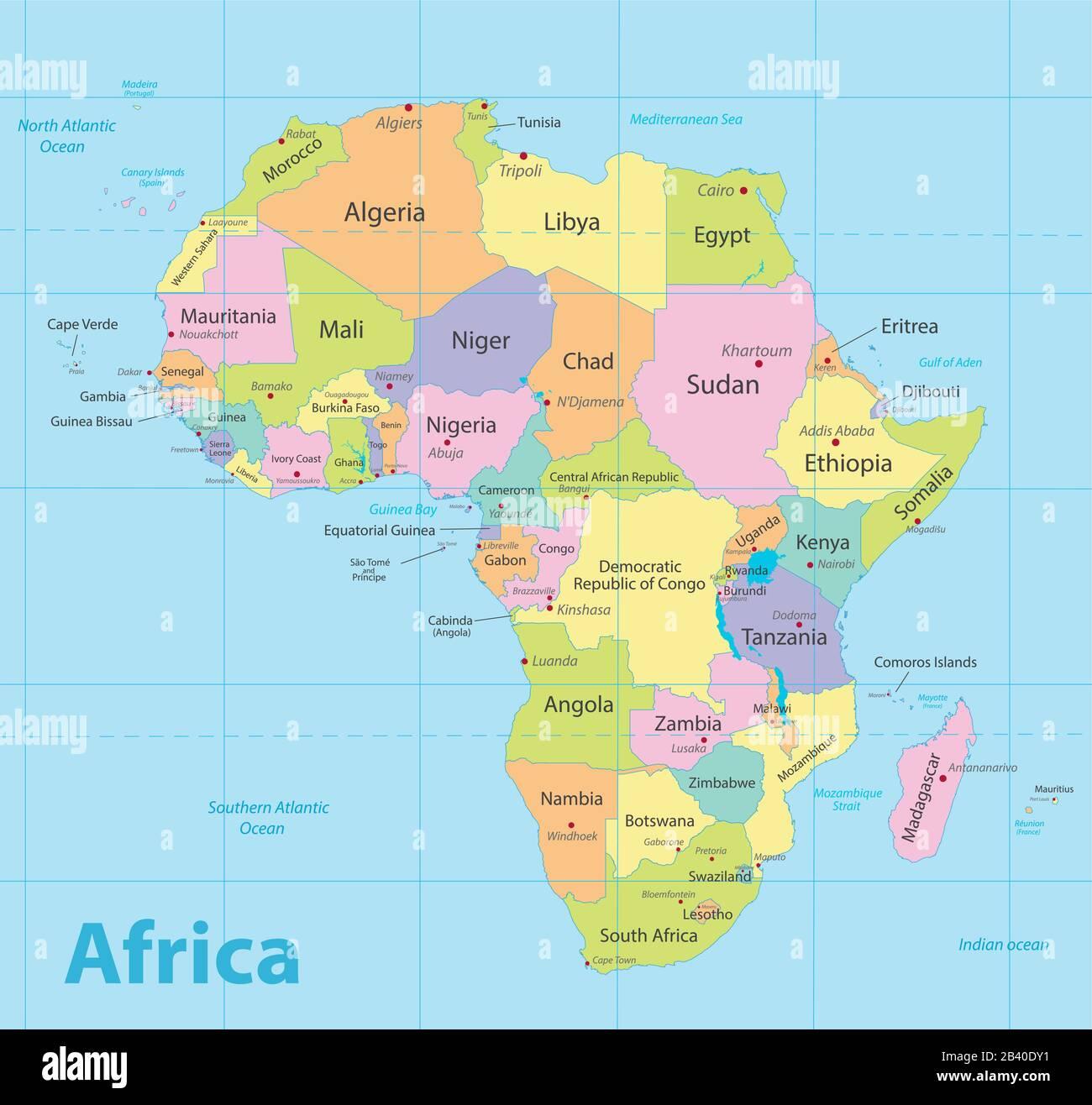 Cartina Mondo Con Nomi Stati.Africa Mappa Colorata Nuova Mappa Politica Dettagliata Stati Individuali Separati Con Citta Di Stato E Nomi Di Mare Blu Sfondo Vettore Immagine E Vettoriale Alamy