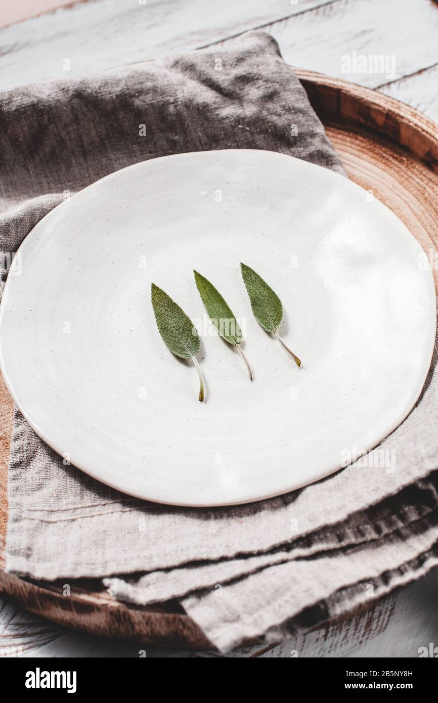 Foto scorta minimalistica di foglie di salvia su lastra bianca foto stock Foto Stock