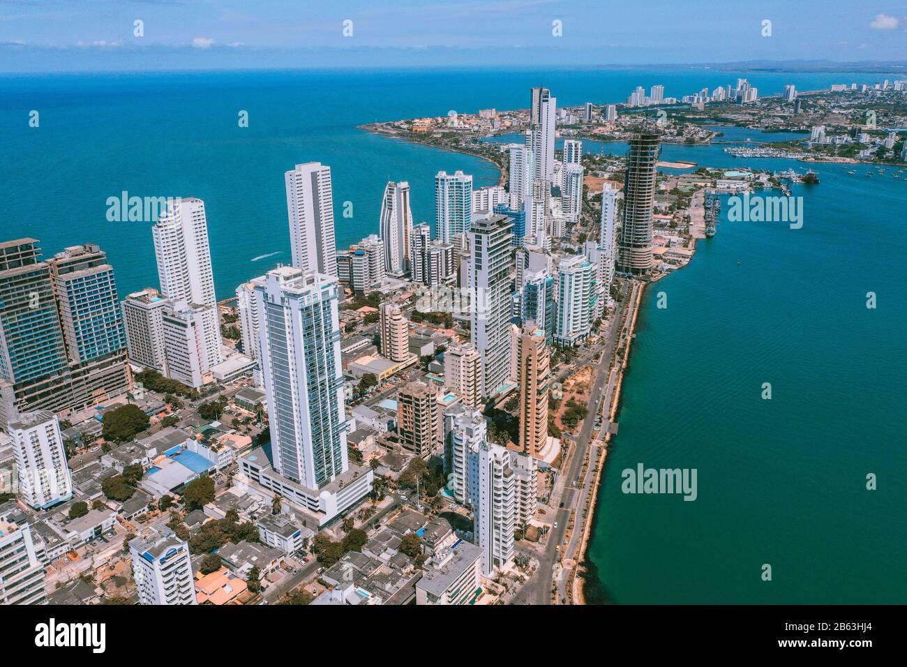 Veduta aerea di Cartagena Bocagrande Foto Stock