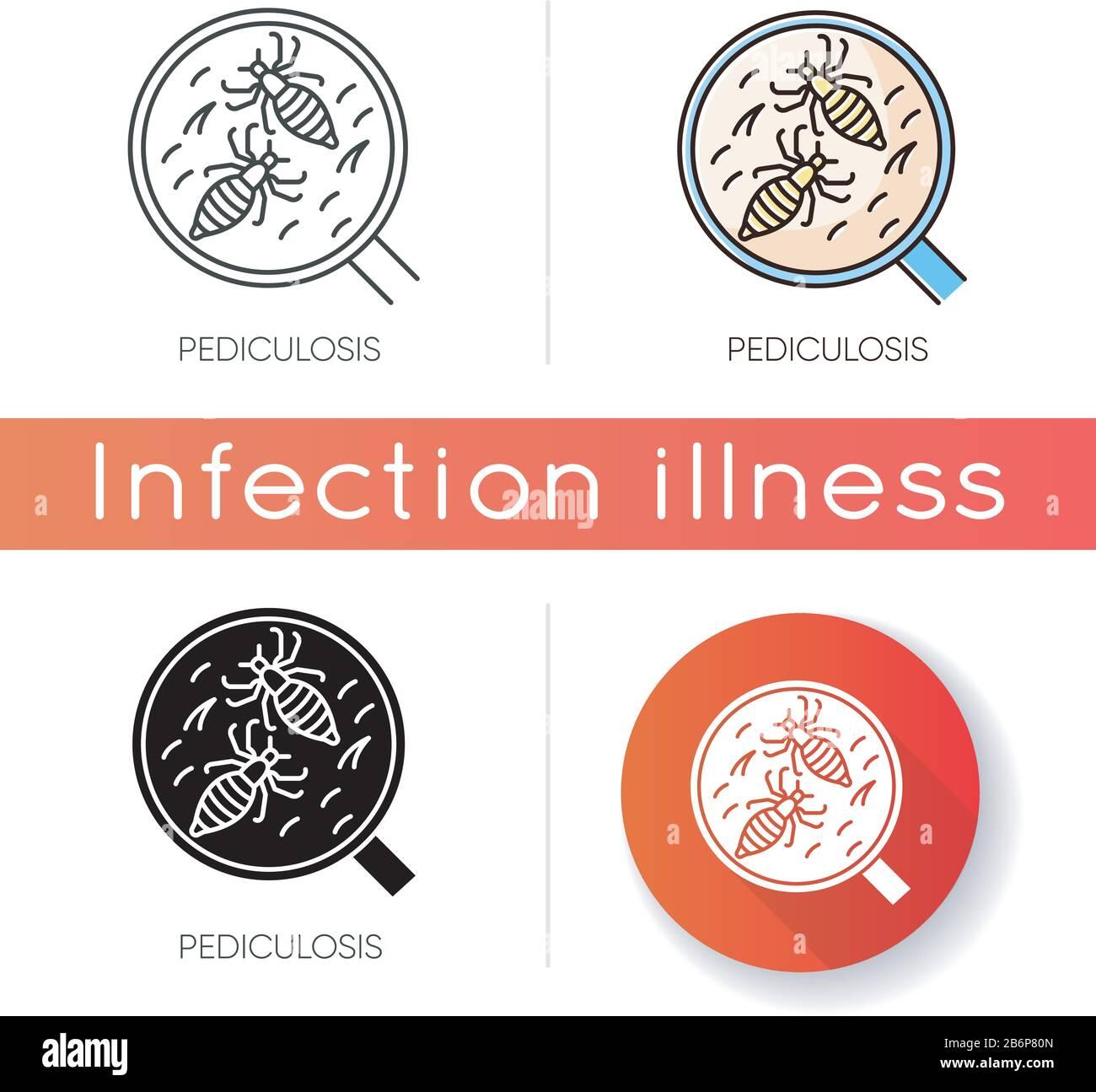 Icona pediculosi. Stili di colore lineare nero e RGB. Problemi medici contagiosi, malattie epidemiche, pidocchi. Insetti piccoli, parassiti sotto ingrandimento Illustrazione Vettoriale