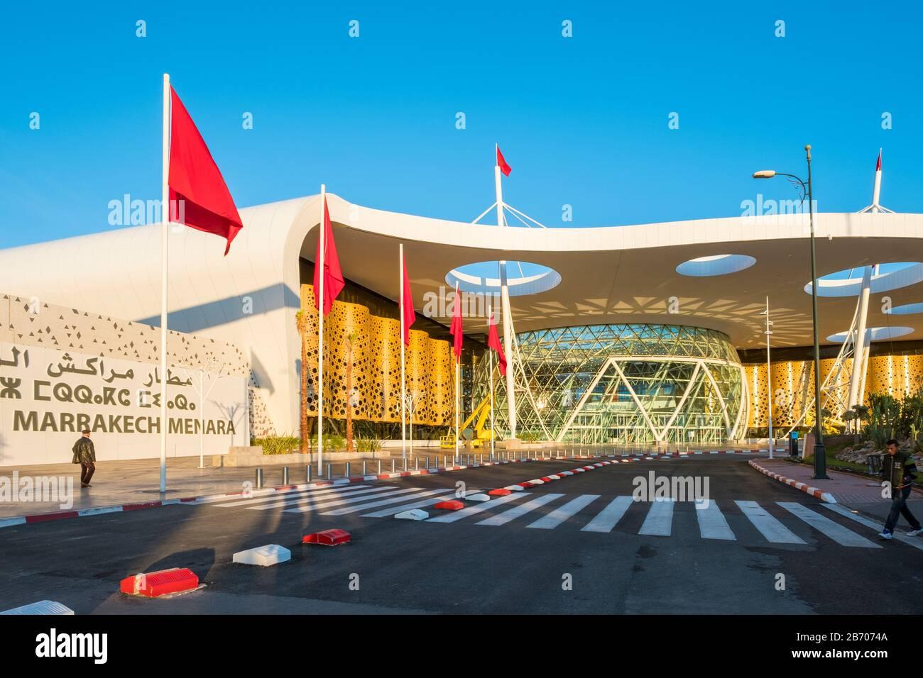 Marocco, Marrakech-Safi (Marrakech-Tensift-El Haouz), Marrakech. Terminal dell'aeroporto di Marrakech Menara. Foto Stock