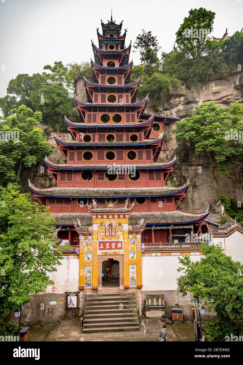 Tempio Shibaozhai Pagoda, fiume Yangtze Foto Stock