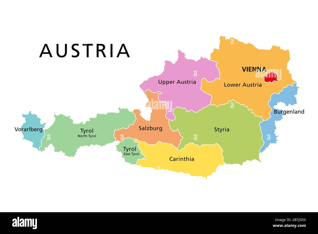 Cartina Del Austria.Austria Mappa Politica Con Stati Federati Colorati La Capitale Vienna E I Confini Etichetta Inglese Illustrazione Isolata Su Sfondo Bianco Foto Stock Alamy