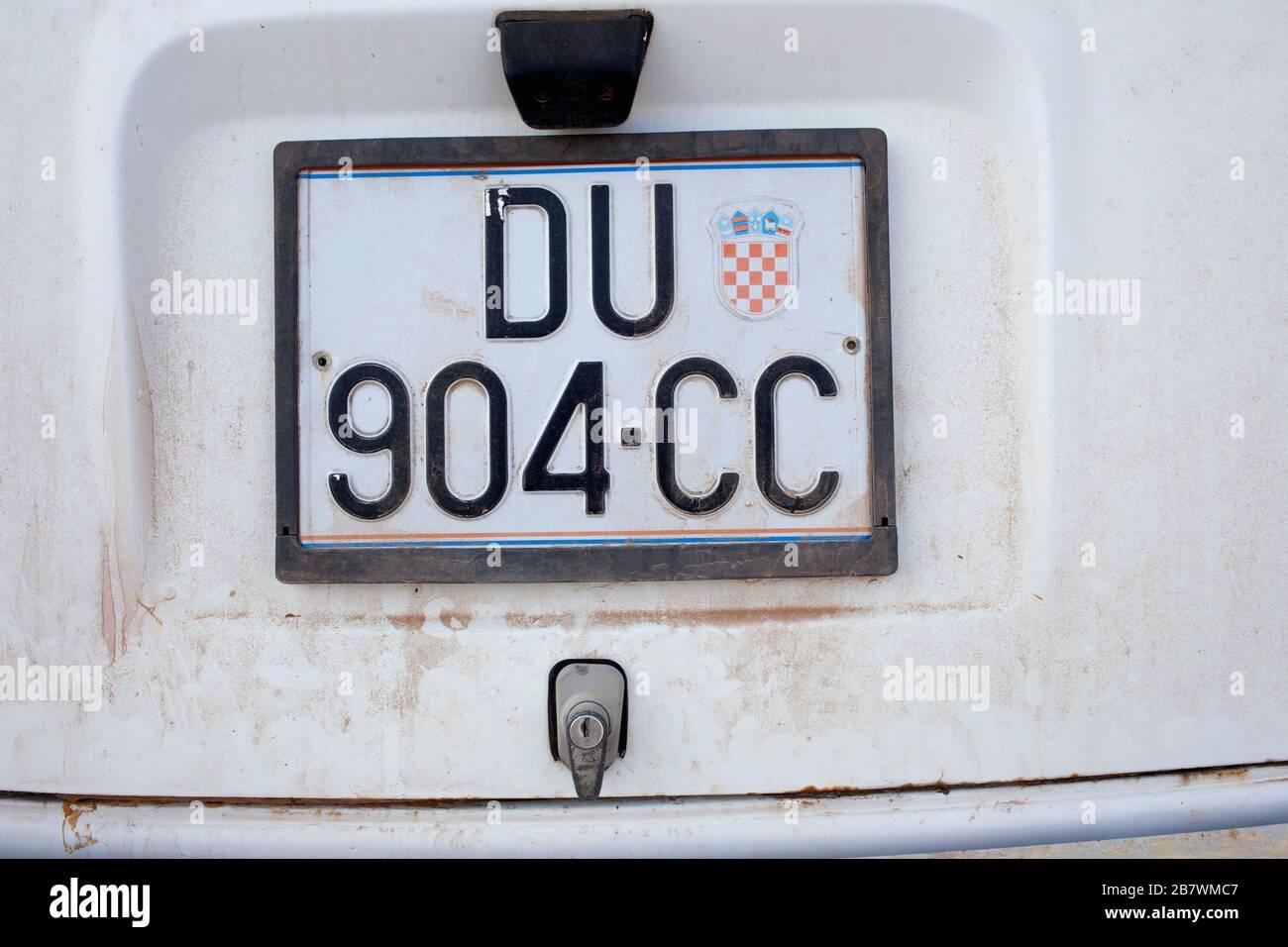 Piastra per auto Croazia. Croazia (Europa) Foto Stock
