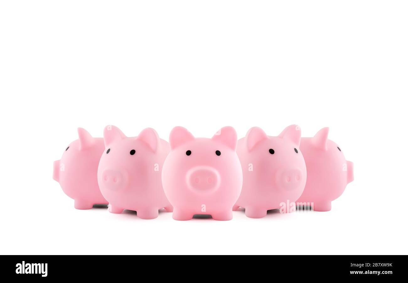 Gruppo di banchi di piggy rosa su sfondo bianco Foto Stock