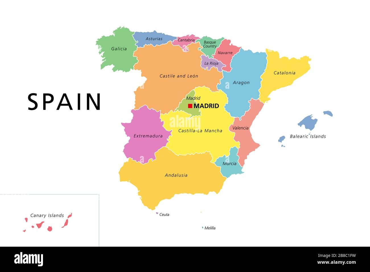 Cartina Spagna Con Regioni E Capitali