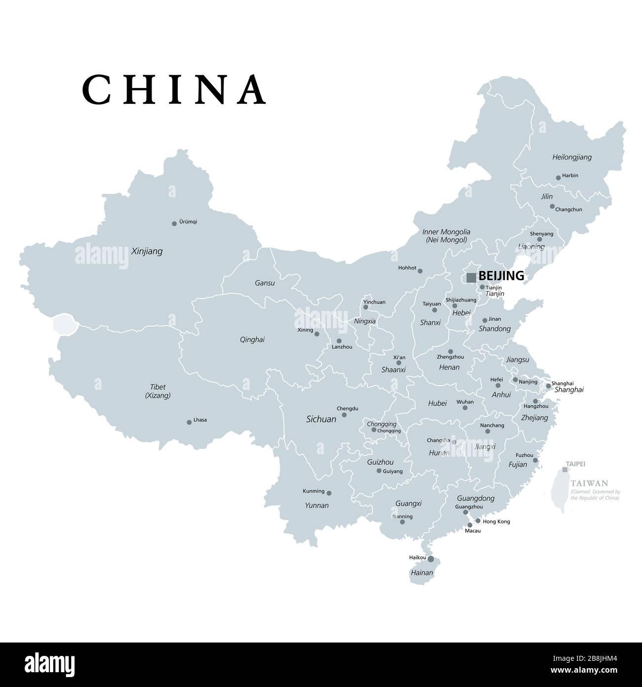 Cartina Cina Con Province.Repubblica Popolare Cinese Prc Mappa Politico Area Controllata Dalla Cina In Giallo E Rivendicato Ma Regioni Incontrollata Mostrato In Arancione Foto Stock Alamy
