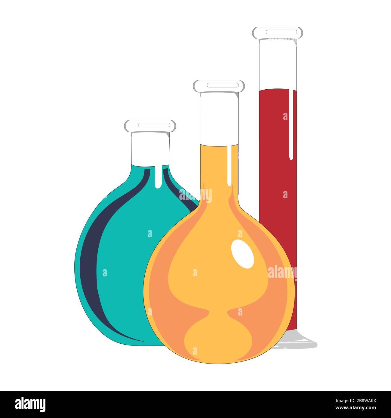 Matracci in vetro da laboratorio e provette con liquido blu, giallo e rosso. Esperimenti chimici e biologici. Illustrazione vettoriale in stile piatto. Illustrazione Vettoriale
