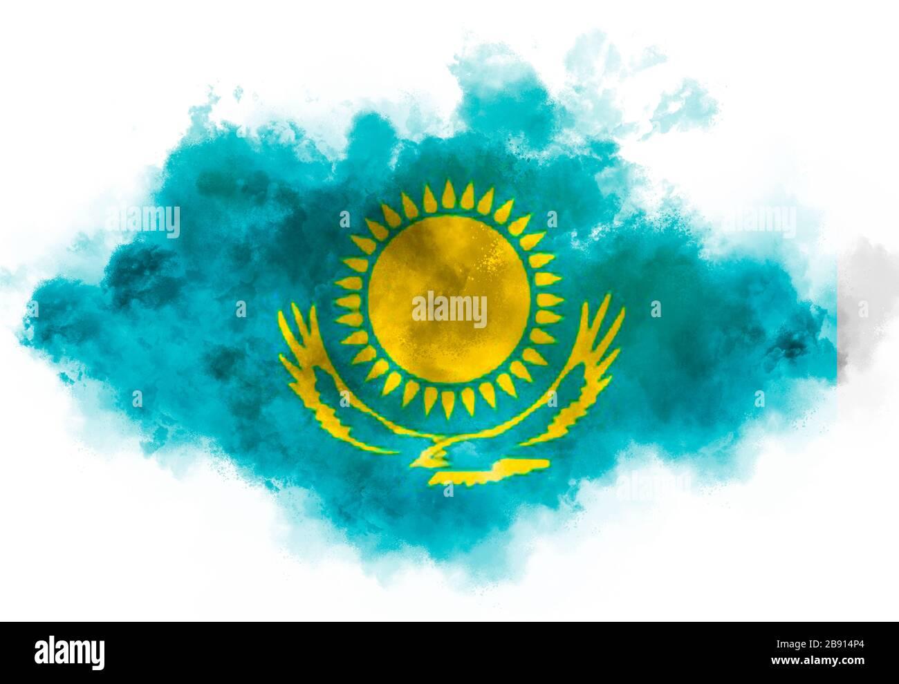 Calamita da frigorifero con illustrazione di mappa e bandiera del Kazakistan