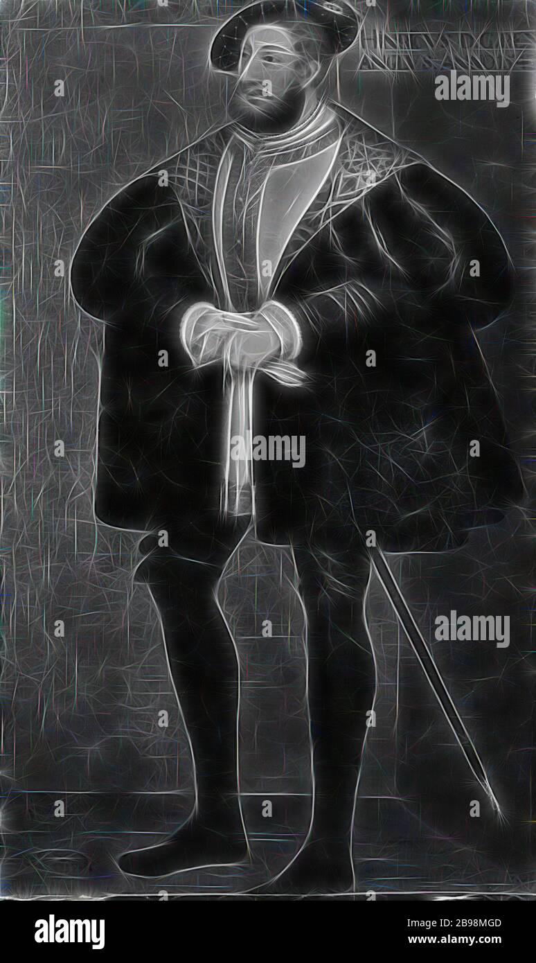 Attribuito a David Frumerie, re Enrico VIII, Enrico VIII, 1491-1547, re d'Inghilterra, pittura, ritratto, Enrico VIII d'Inghilterra, 1667, olio su tela, altezza, 194 cm (76.3 pollici), larghezza, 115 cm (45.2 pollici), Reimagined by Gibon, disegno di calda allegra luce di luminosità e di radianza dei raggi di luce. Arte classica reinventata con un tocco moderno. La fotografia ispirata al futurismo, abbracciando l'energia dinamica della tecnologia moderna, del movimento, della velocità e rivoluzionando la cultura. Foto Stock