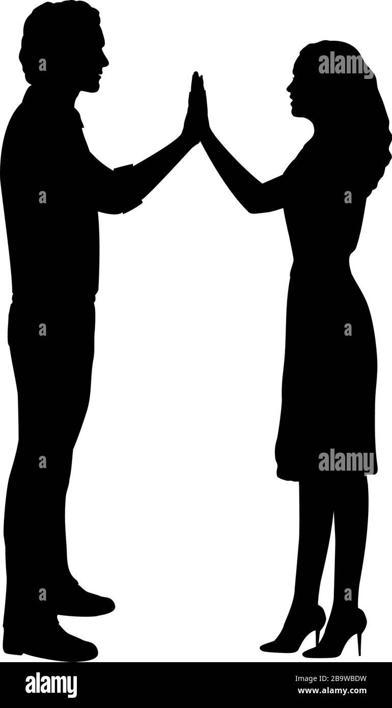 Silhouette di uomini e donne amanti in mano Illustrazione Vettoriale