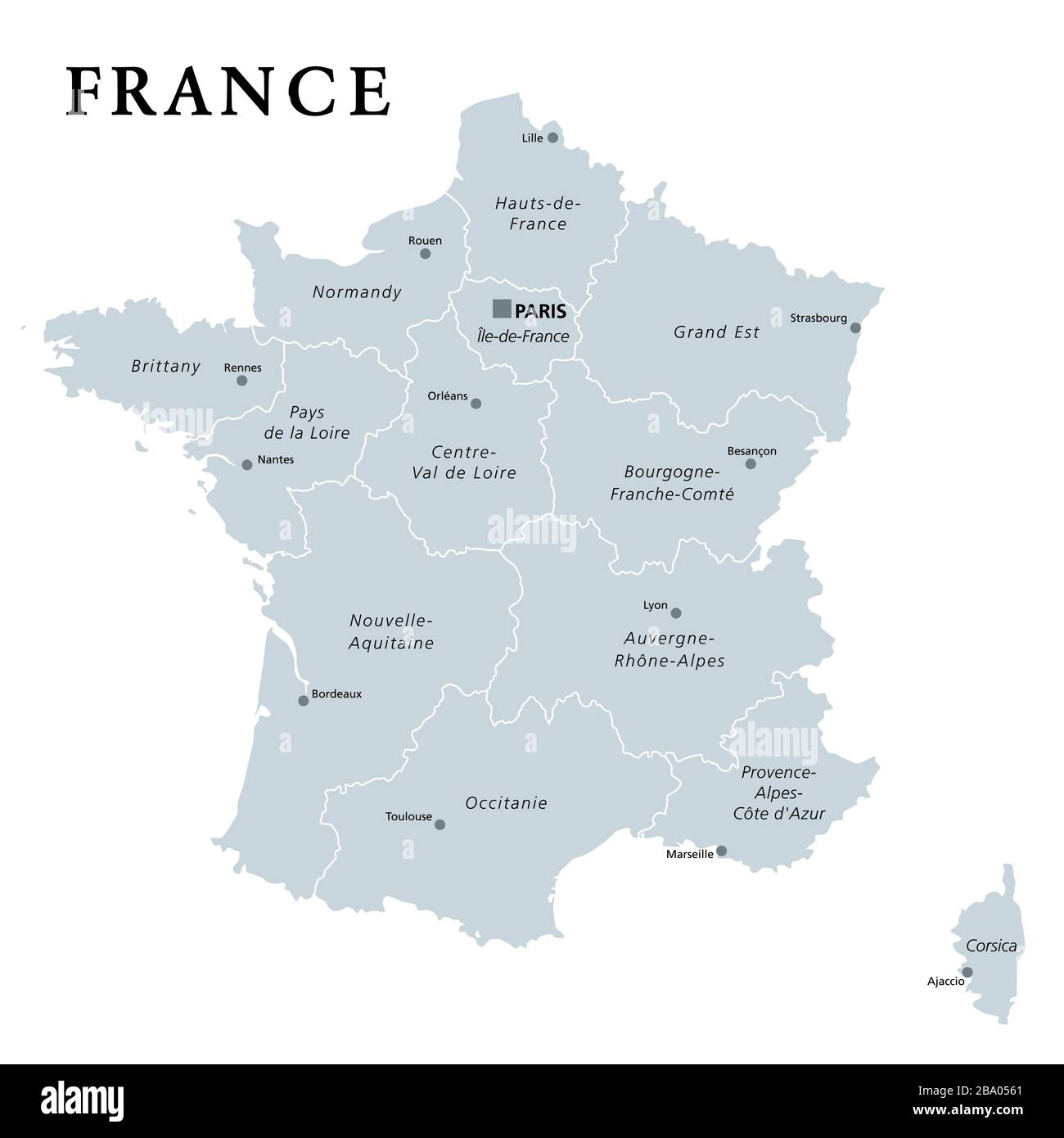 Cartina Politica Di Parigi.Francia Mappa Politica Grigia Regioni Della Francia Metropolitana Repubblica Francese Capitale Parigi Regioni Amministrative E Prefetture Foto Stock Alamy