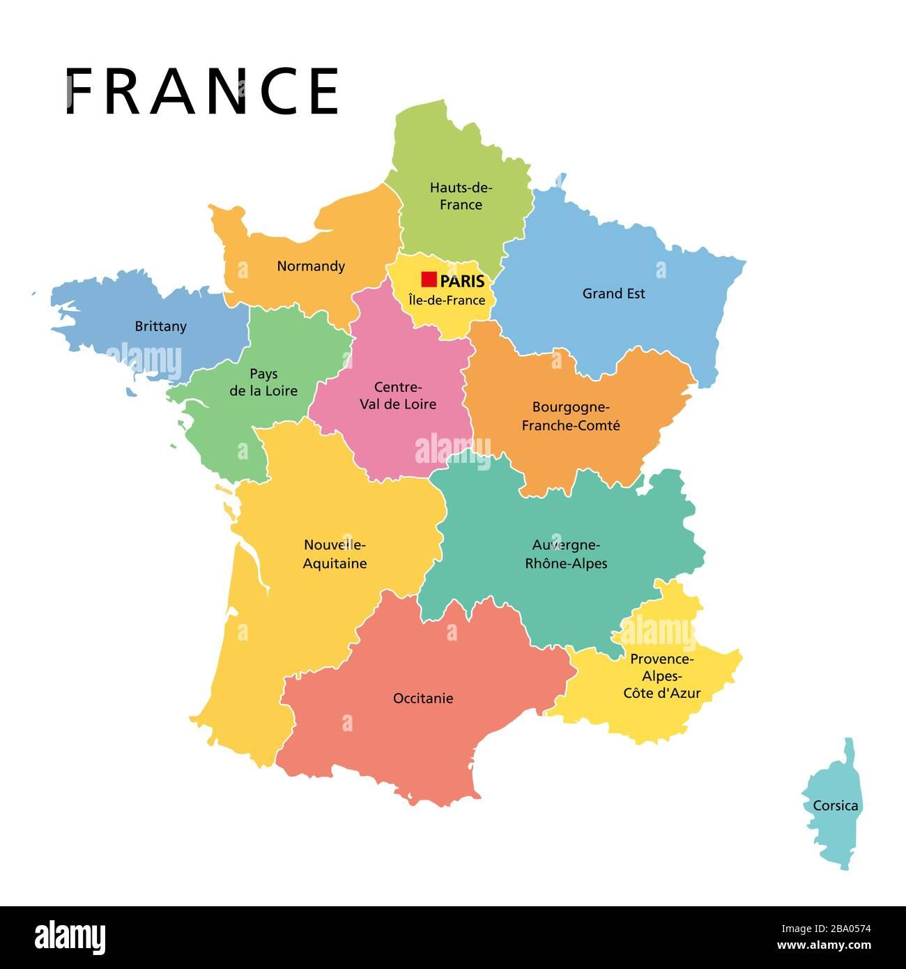 Cartina Politica Di Parigi.Francia Mappa Politica Regioni Della Francia Metropolitana Repubblica Francese Con Capitale Parigi E 13 Regioni Amministrative Sul Continente Europeo Foto Stock Alamy