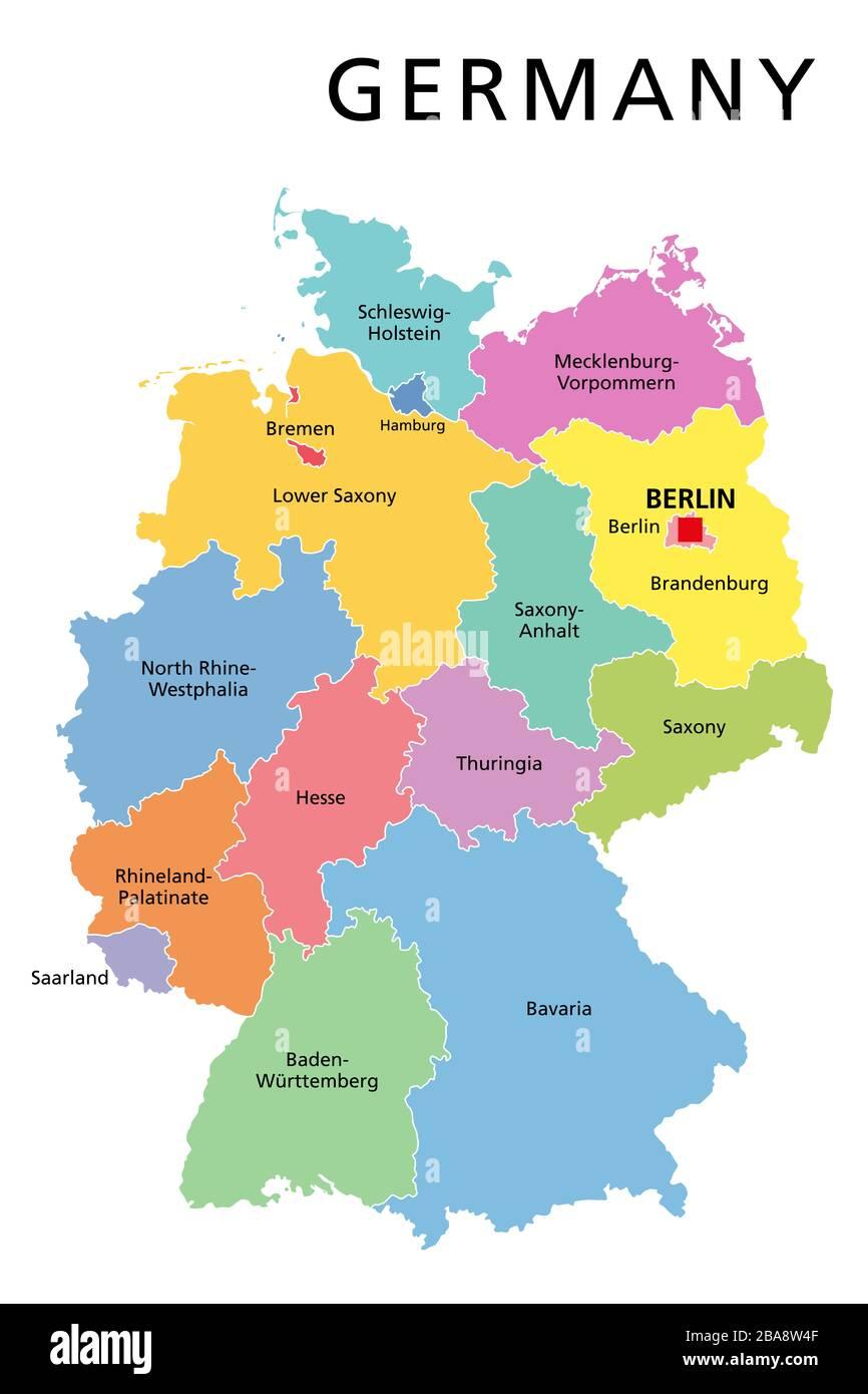 Germania Cartina Fiumi.Germania Mappa Politico Con Capitale Berlino Confini Nazionali Piu Importanti Citta Fiumi E Laghi Etichetta Inglese Scaling Foto Stock Alamy